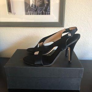 Satin cross front sandal/heels